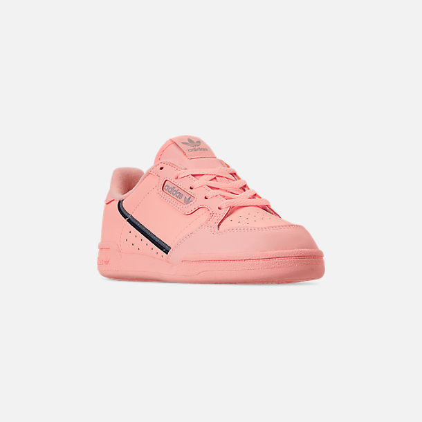 Three Quarter view of Girls' Little Kids' adidas Continental 80 Casual Shoes in Clear Orange/Light Brown/Ecru Tint