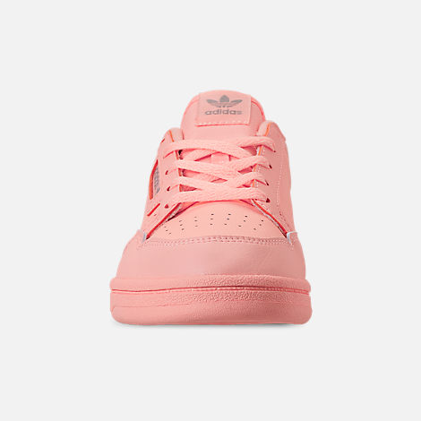 Front view of Girls' Little Kids' adidas Continental 80 Casual Shoes in Clear Orange/Light Brown/Ecru Tint