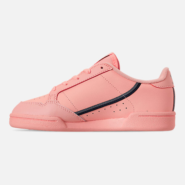 Left view of Girls' Little Kids' adidas Continental 80 Casual Shoes in Clear Orange/Light Brown/Ecru Tint