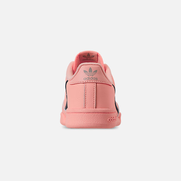 Back view of Girls' Little Kids' adidas Continental 80 Casual Shoes in Clear Orange/Light Brown/Ecru Tint