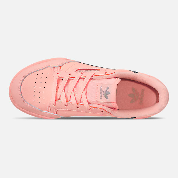 Top view of Girls' Little Kids' adidas Continental 80 Casual Shoes in Clear Orange/Light Brown/Ecru Tint