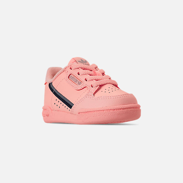Three Quarter view of Toddler Girls' adidas Continental 80 Casual Shoes in Clear Orange/Light Brown/Ecru Tint