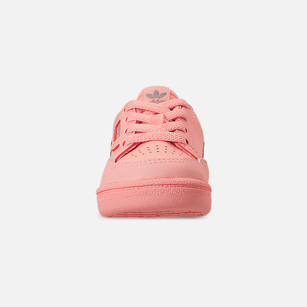 Front view of Toddler Girls' adidas Continental 80 Casual Shoes in Clear Orange/Light Brown/Ecru Tint