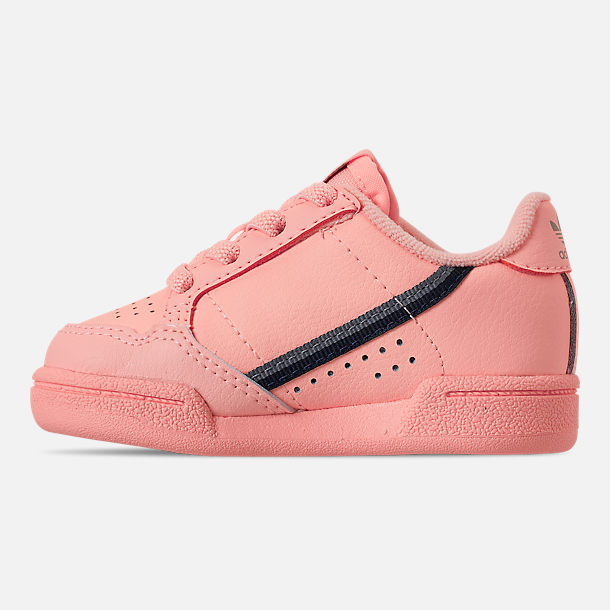 Left view of Toddler Girls' adidas Continental 80 Casual Shoes in Clear Orange/Light Brown/Ecru Tint