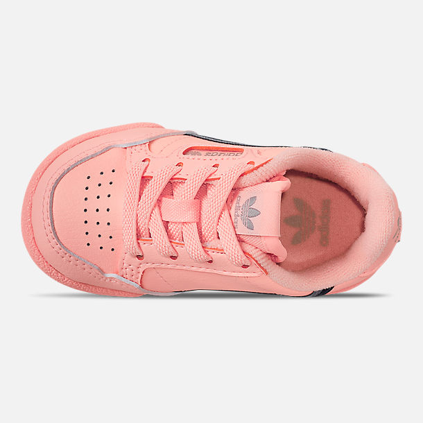 Top view of Toddler Girls' adidas Continental 80 Casual Shoes in Clear Orange/Light Brown/Ecru Tint