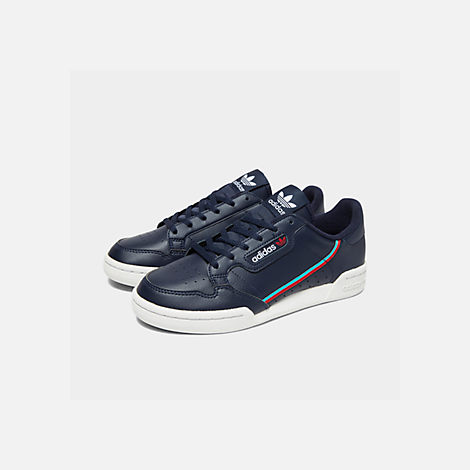 Three Quarter view of Boys' Big Kids' adidas Originals Continental 80 Casual Shoes in Collegiate Navy/Scarlet/Aqua