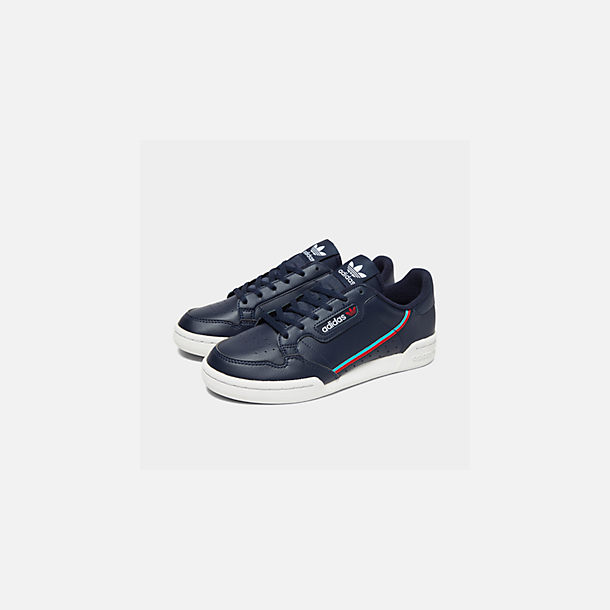Three Quarter view of Big Kids' adidas Originals Continental 80 Casual Shoes in Collegiate Navy/Scarlet/Aqua