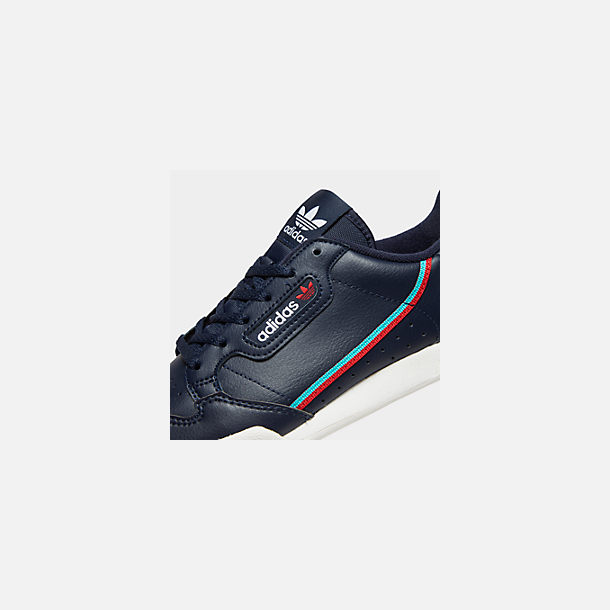 Front view of Big Kids' adidas Originals Continental 80 Casual Shoes in Collegiate Navy/Scarlet/Aqua