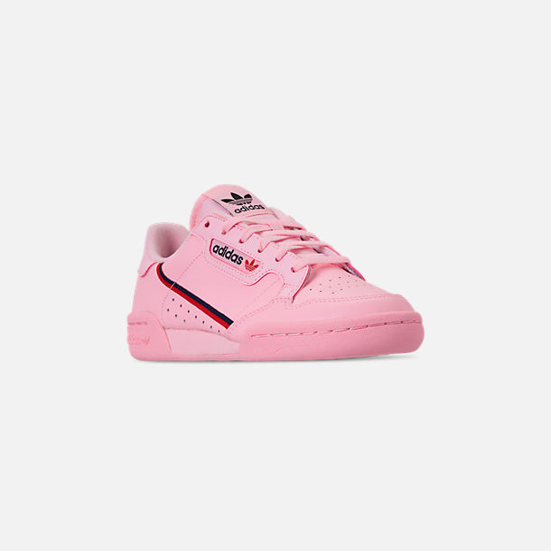Three Quarter view of Girls' Big Kids' adidas Originals Continental 80 Casual Shoes in Pink/Scarlet/Collegiate Navy