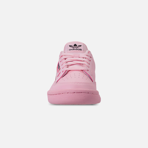 Front view of Girls' Big Kids' adidas Originals Continental 80 Casual Shoes in Pink/Scarlet/Collegiate Navy