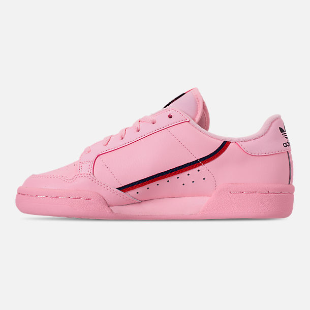 Left view of Girls' Big Kids' adidas Originals Continental 80 Casual Shoes in Pink/Scarlet/Collegiate Navy