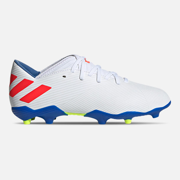 Right view of Boys' Big Kids' adidas Nemeziz Messi 19.3 Firm Ground Soccer Cleats in Cloud White/Solar Red/Football Blue