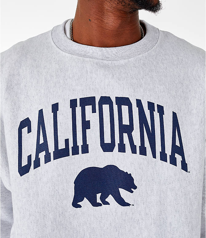 Detail 1 view of Men's Champion Cal Golden Bears College Reverse Weave Crewneck Sweatshirt in Silver Grey