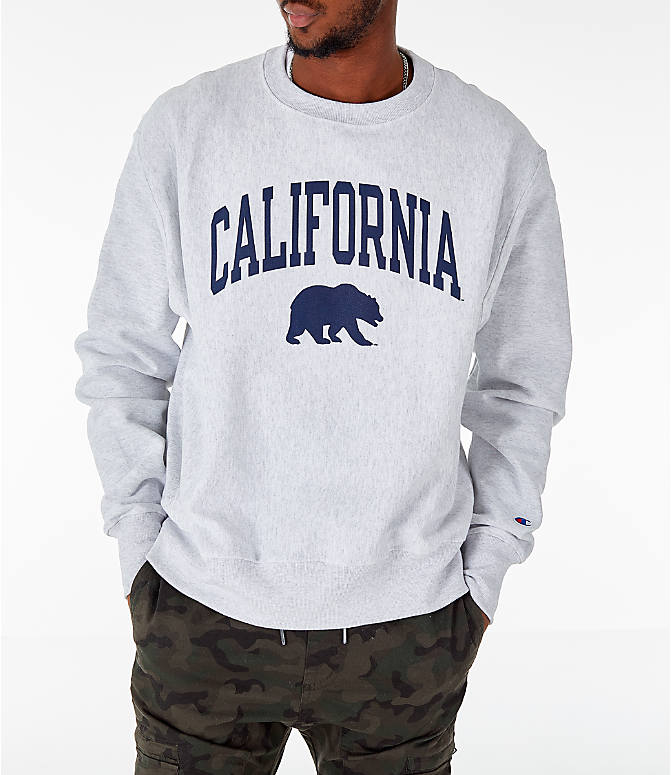 Front view of Men's Champion Cal Golden Bears College Reverse Weave Crewneck Sweatshirt in Silver Grey
