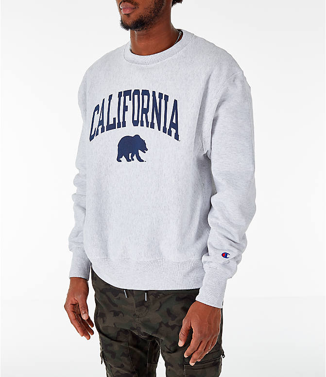 Front Three Quarter view of Men's Champion Cal Golden Bears College Reverse Weave Crewneck Sweatshirt in Silver Grey