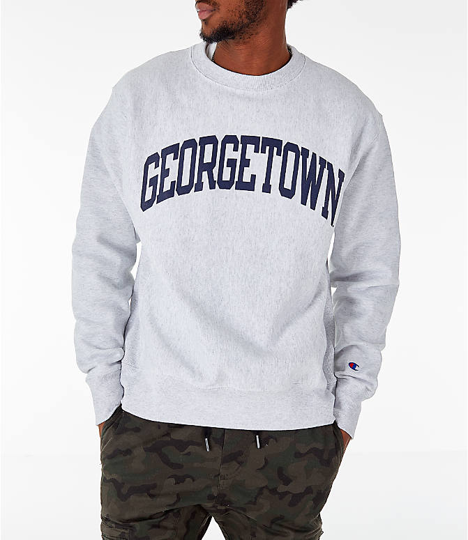 Front Three Quarter view of Men's Champion Georgetown Hoyas College Reverse Weave Crewneck Sweatshirt in Silver Grey