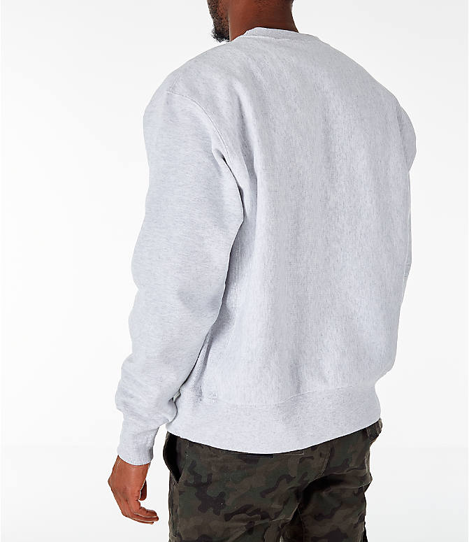Back Left view of Men's Champion Georgetown Hoyas College Reverse Weave Crewneck Sweatshirt in Silver Grey