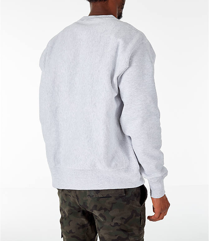 Back Right view of Men's Champion Georgetown Hoyas College Reverse Weave Crewneck Sweatshirt in Silver Grey