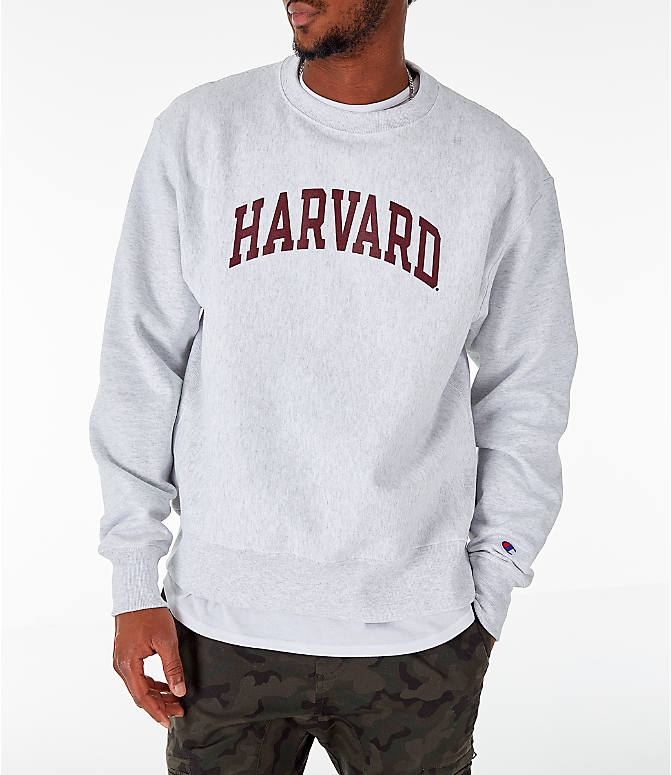 Front view of Men's Champion Harvard Crimson College Reverse Weave Crewneck Sweatshirt in Silver Grey
