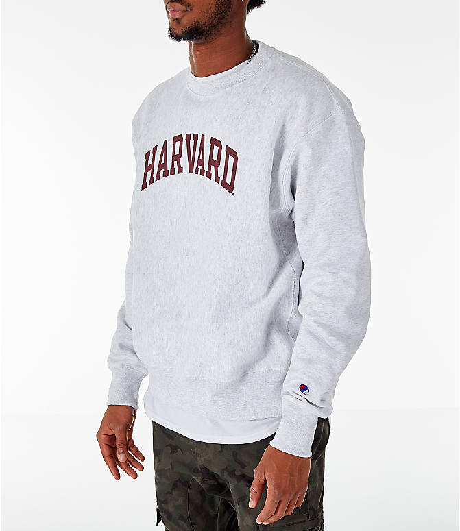 Front Three Quarter view of Men's Champion Harvard Crimson College Reverse Weave Crewneck Sweatshirt in Silver Grey