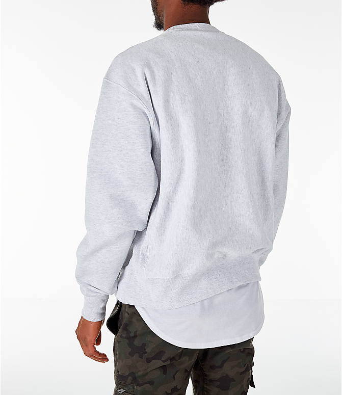Back Left view of Men's Champion Harvard Crimson College Reverse Weave Crewneck Sweatshirt in Silver Grey
