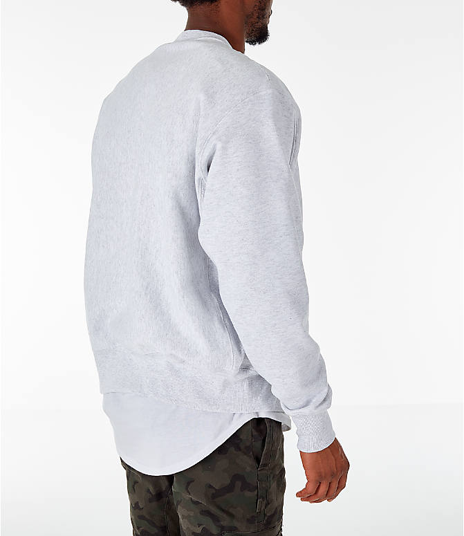 Back Right view of Men's Champion Harvard Crimson College Reverse Weave Crewneck Sweatshirt in Silver Grey