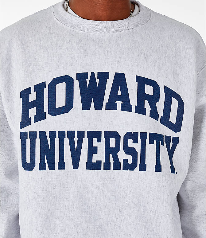 Detail 1 view of Men's Champion Howard Bison College Reverse Weave Crewneck Sweatshirt in Silver Grey