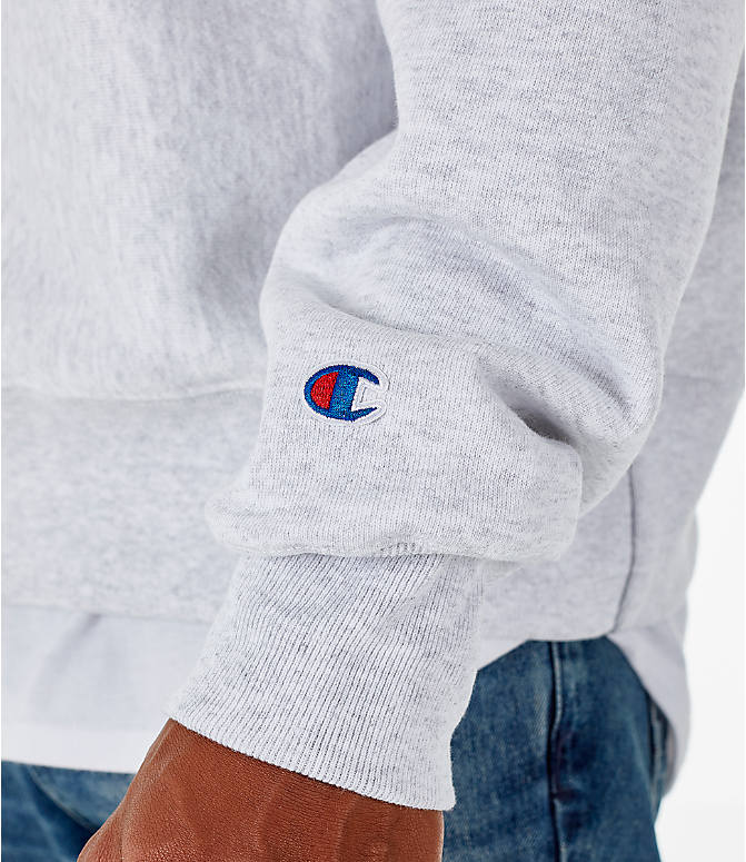 Detail 2 view of Men's Champion Howard Bison College Reverse Weave Crewneck Sweatshirt in Silver Grey