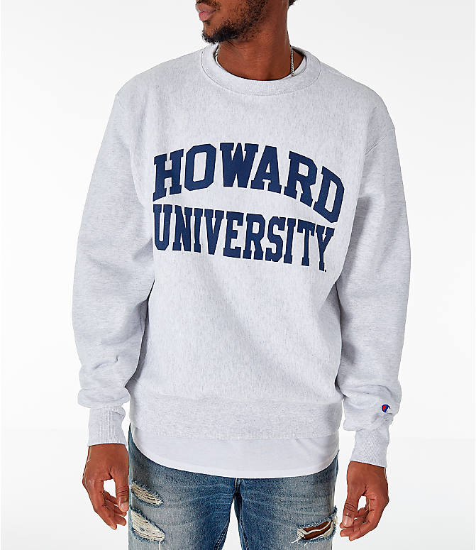 Front view of Men's Champion Howard Bison College Reverse Weave Crewneck Sweatshirt in Silver Grey