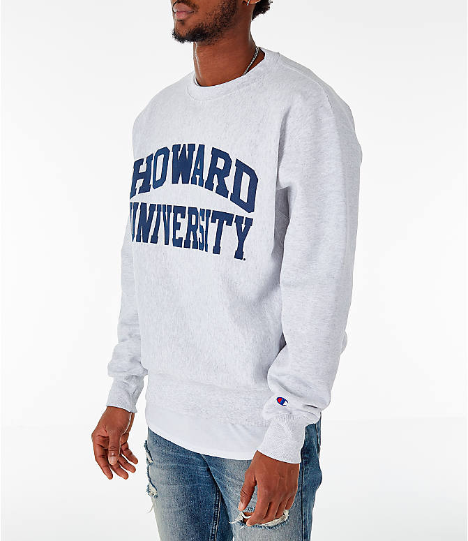 Front Three Quarter view of Men's Champion Howard Bison College Reverse Weave Crewneck Sweatshirt in Silver Grey
