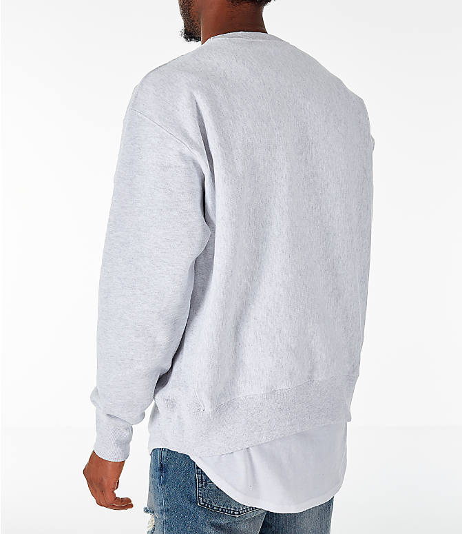 Back Left view of Men's Champion Howard Bison College Reverse Weave Crewneck Sweatshirt in Silver Grey