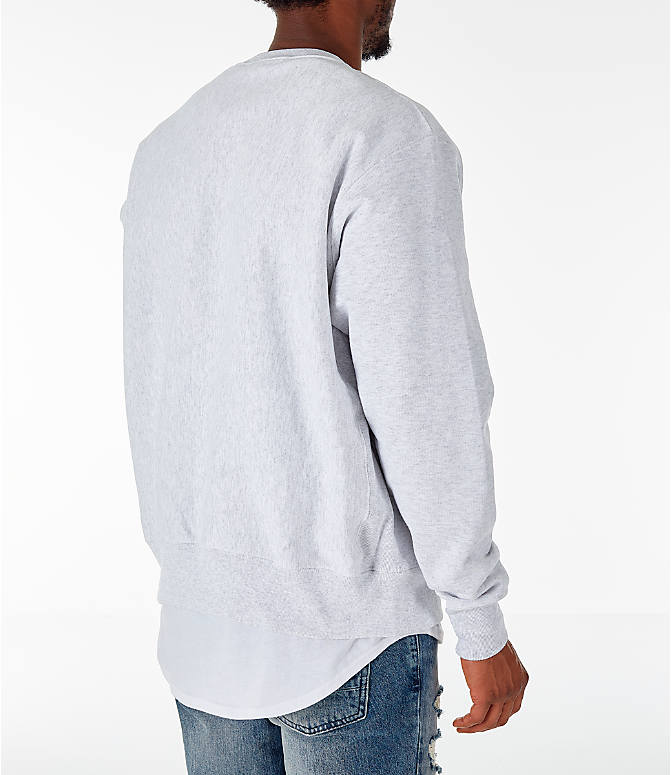 Back Right view of Men's Champion Howard Bison College Reverse Weave Crewneck Sweatshirt in Silver Grey