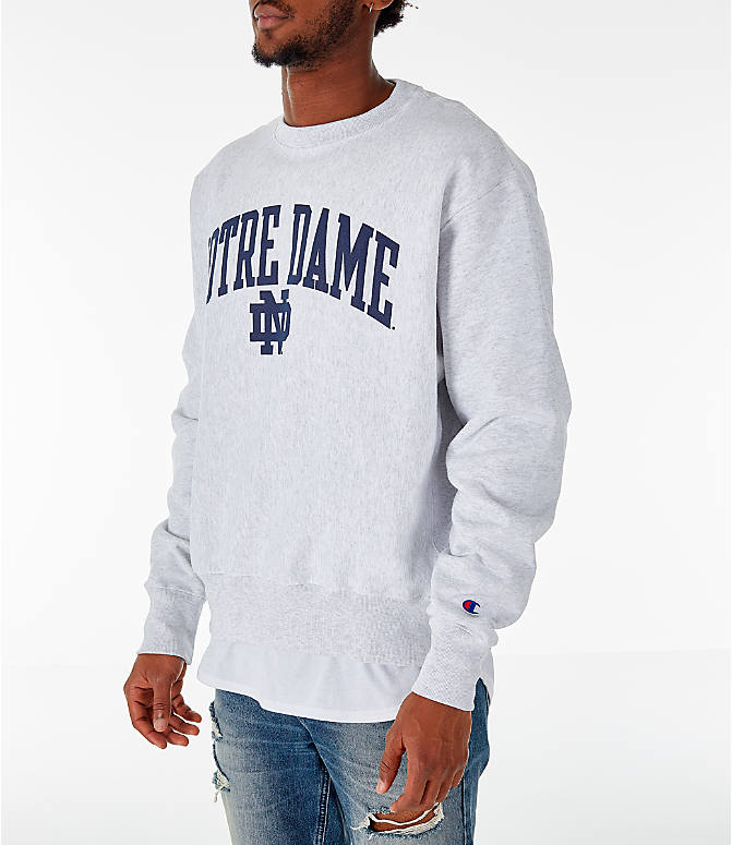 Front Three Quarter view of Men's Champion Notre Dame Fighting Irish College Reverse Weave Crewneck Sweatshirt in Silver Grey