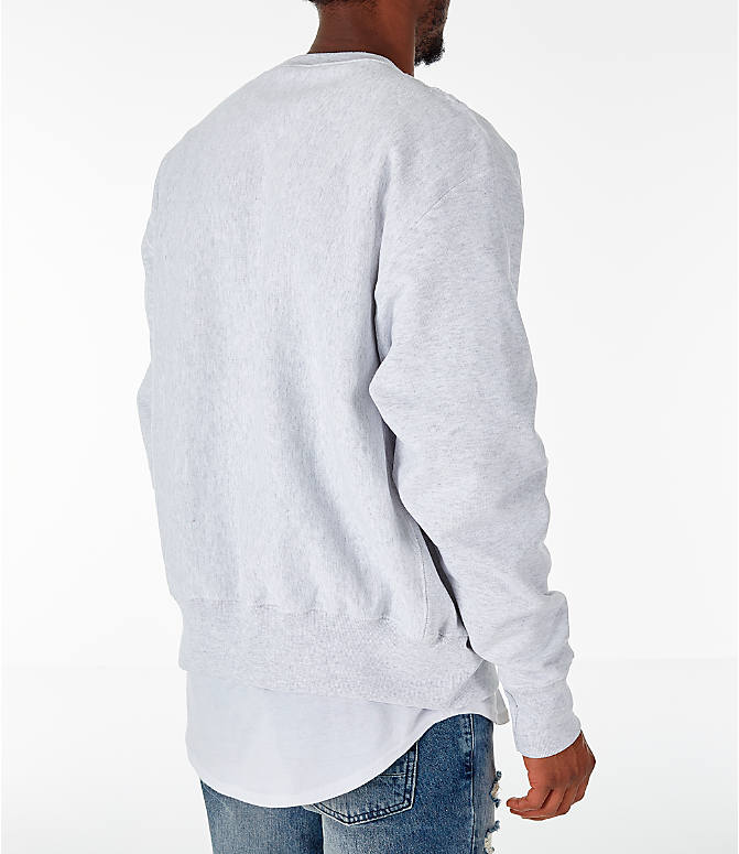 Back Right view of Men's Champion Notre Dame Fighting Irish College Reverse Weave Crewneck Sweatshirt in Silver Grey