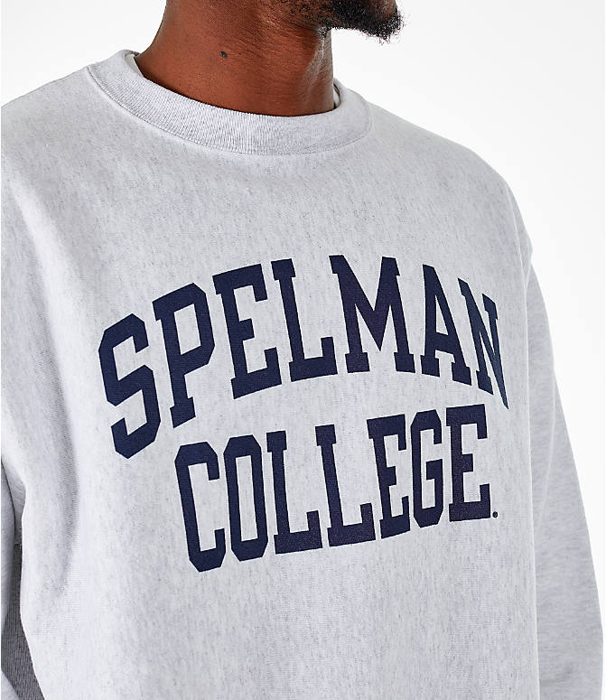 Detail 1 view of Men's Champion Spelman Jaguars College Reverse Weave Crewneck Sweatshirt in Silver Grey