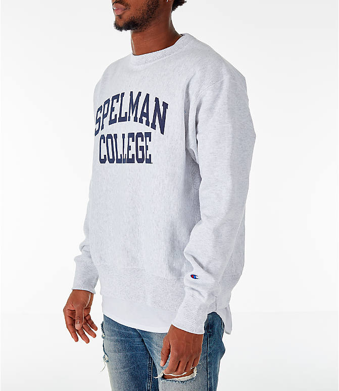 Front Three Quarter view of Men's Champion Spelman Jaguars College Reverse Weave Crewneck Sweatshirt in Silver Grey