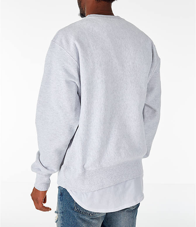 Back Left view of Men's Champion Spelman Jaguars College Reverse Weave Crewneck Sweatshirt in Silver Grey