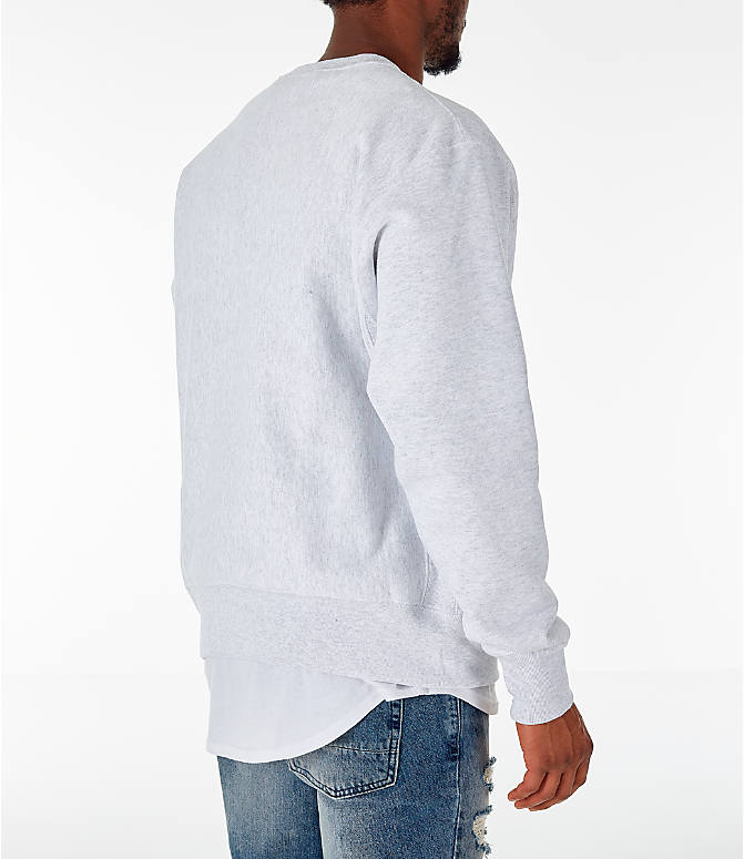 Back Right view of Men's Champion Spelman Jaguars College Reverse Weave Crewneck Sweatshirt in Silver Grey