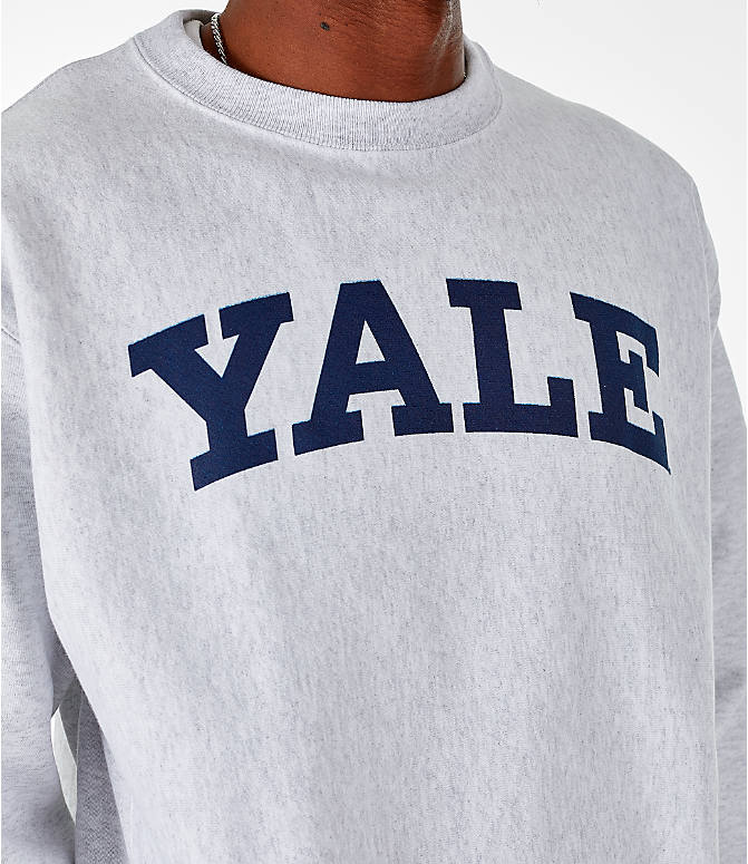 Detail 1 view of Men's Champion Yale Bulldogs College Reverse Weave Crewneck Sweatshirt in Silver Grey