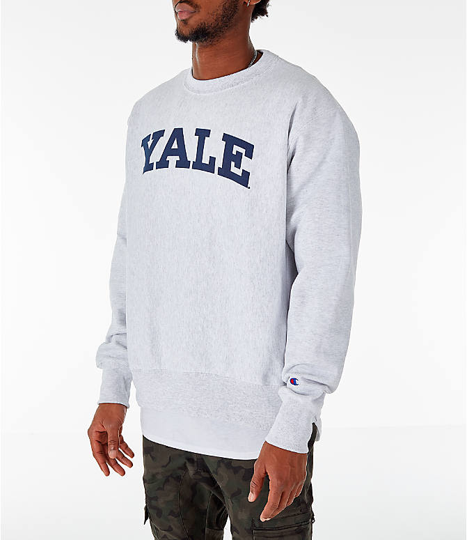 Front Three Quarter view of Men's Champion Yale Bulldogs College Reverse Weave Crewneck Sweatshirt in Silver Grey