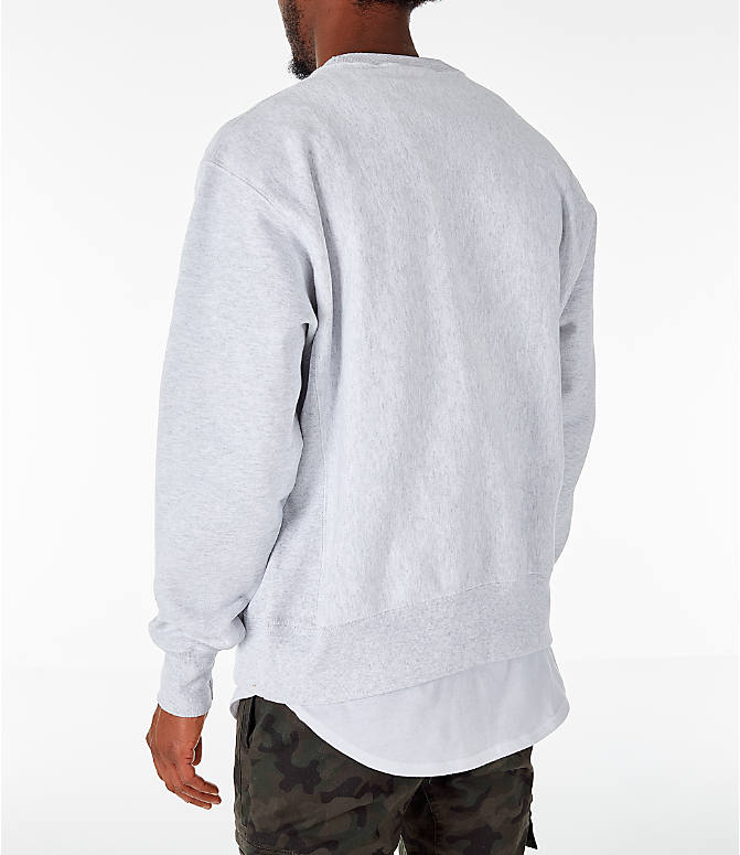 Back Left view of Men's Champion Yale Bulldogs College Reverse Weave Crewneck Sweatshirt in Silver Grey