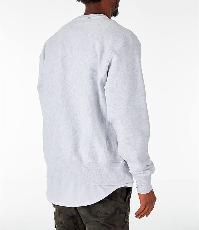 Back Right view of Men's Champion Yale Bulldogs College Reverse Weave Crewneck Sweatshirt in Silver Grey