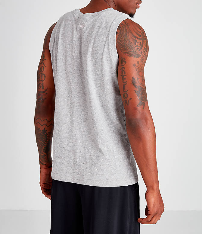 Back Right view of Men's adidas Originals Radkin Tank in Grey/White
