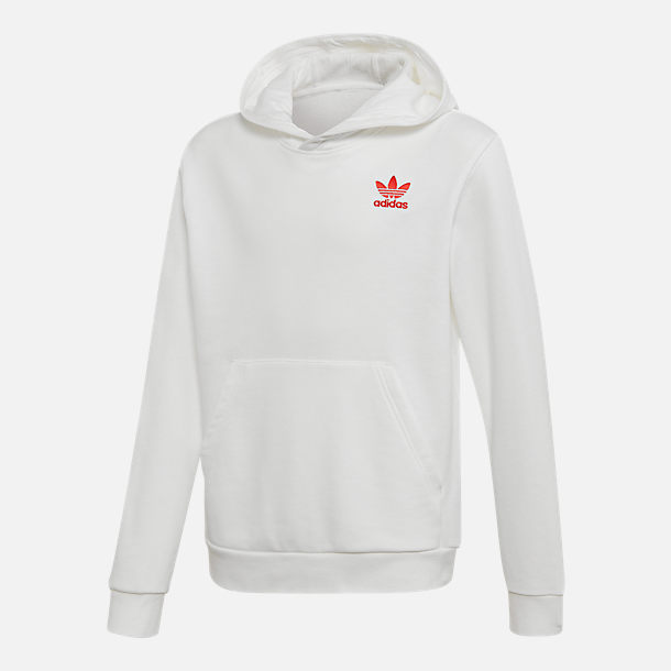 Front view of Kids' adidas Originals V-Day Trefoil Hoodie in White