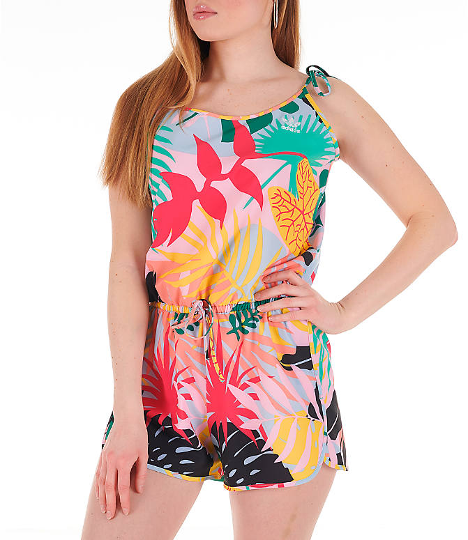 Detail 1 view of Women's adidas Originals Tropicalage Romper in Multi Floral