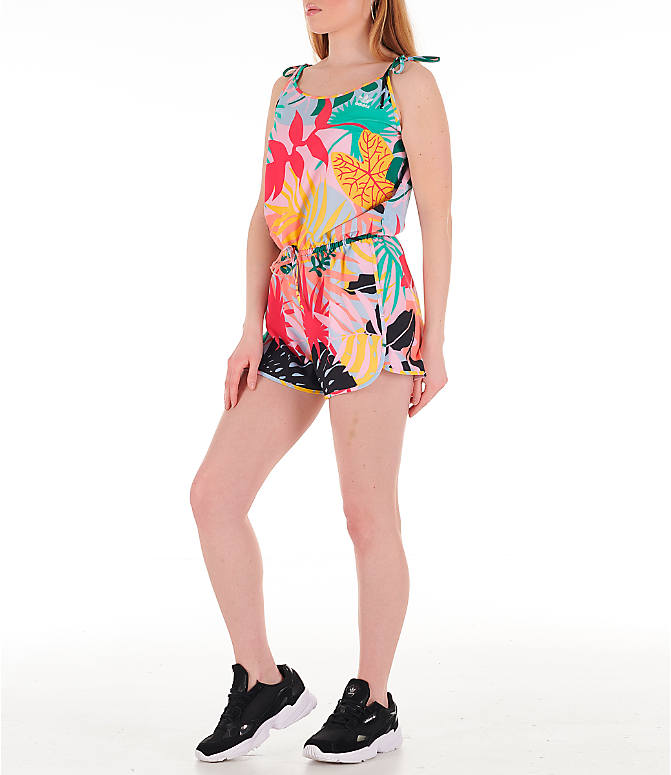 Front Three Quarter view of Women's adidas Originals Tropicalage Romper in Multi Floral