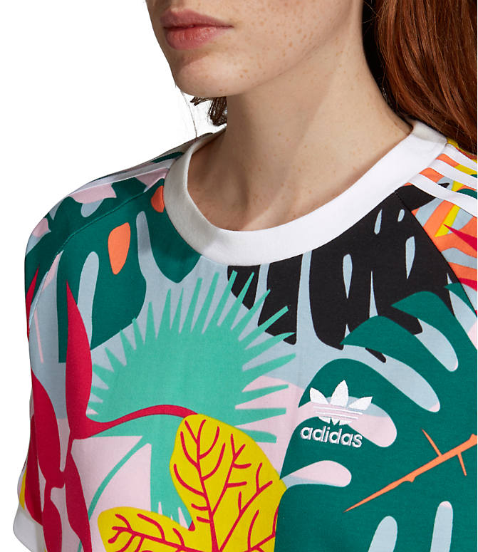 7452329a905 Detail 1 view of Women's adidas Originals Tropicalage T-Shirt Dress in  Multicolor