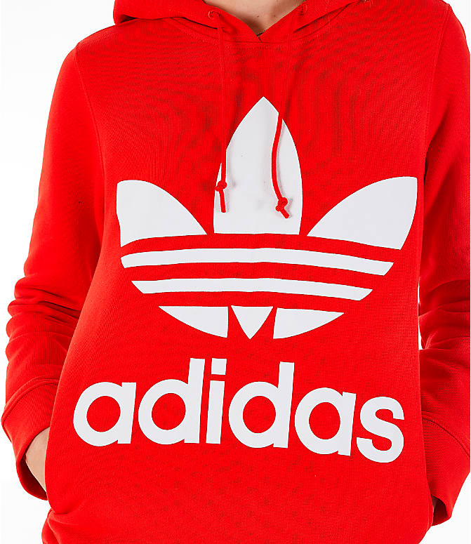 Detail 1 view of Women's adidas Originals Trefoil Logo Hoodie in Active Red