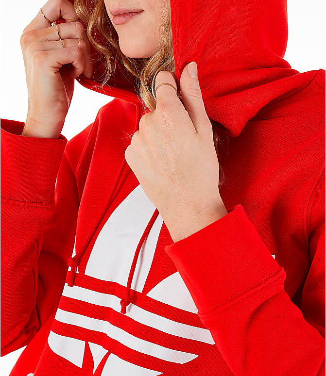 Detail 2 view of Women's adidas Originals Trefoil Logo Hoodie in Active Red