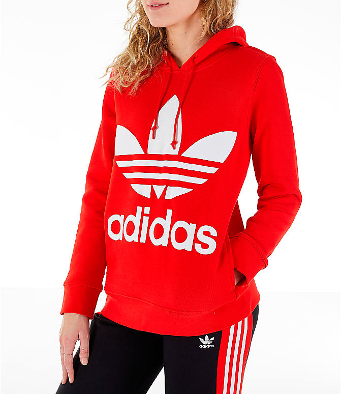Front Three Quarter view of Women's adidas Originals Trefoil Logo Hoodie in Active Red